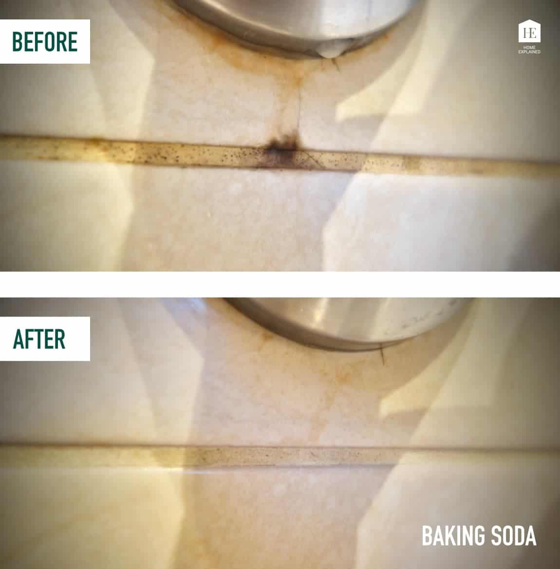 Getting rid of black mold from shower grout naturally with baking soda mix   HomeExplained.com