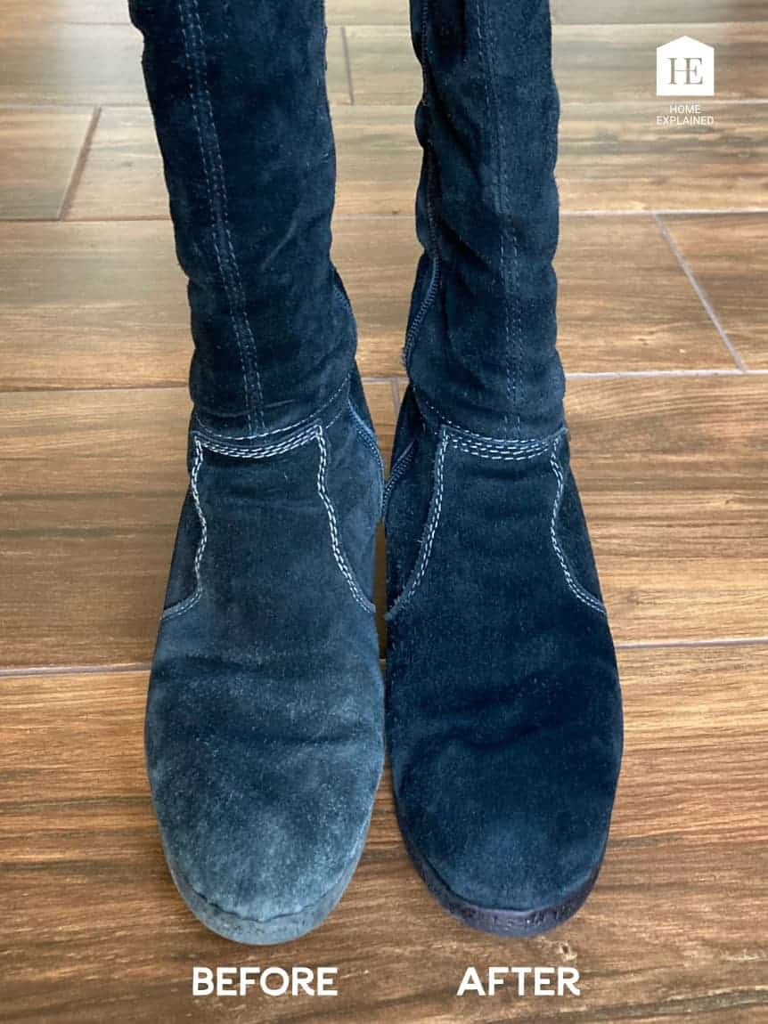 Before and After Restoration of Water Damaged Suede Shoes