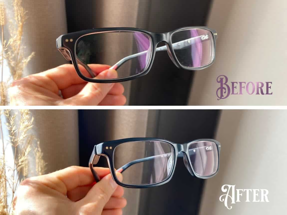 Lenses before and after removal of anti-reflective coating