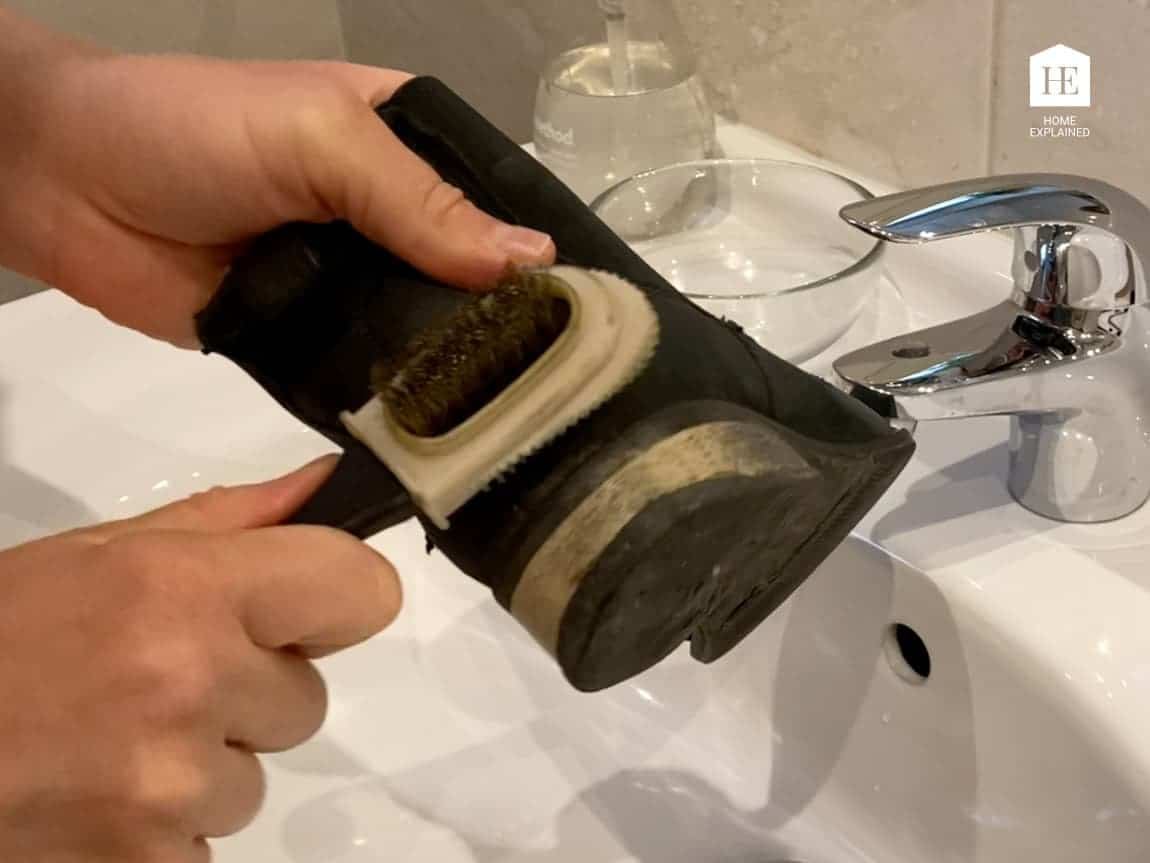 Rubbing off stubborn stains from nubuck shoe