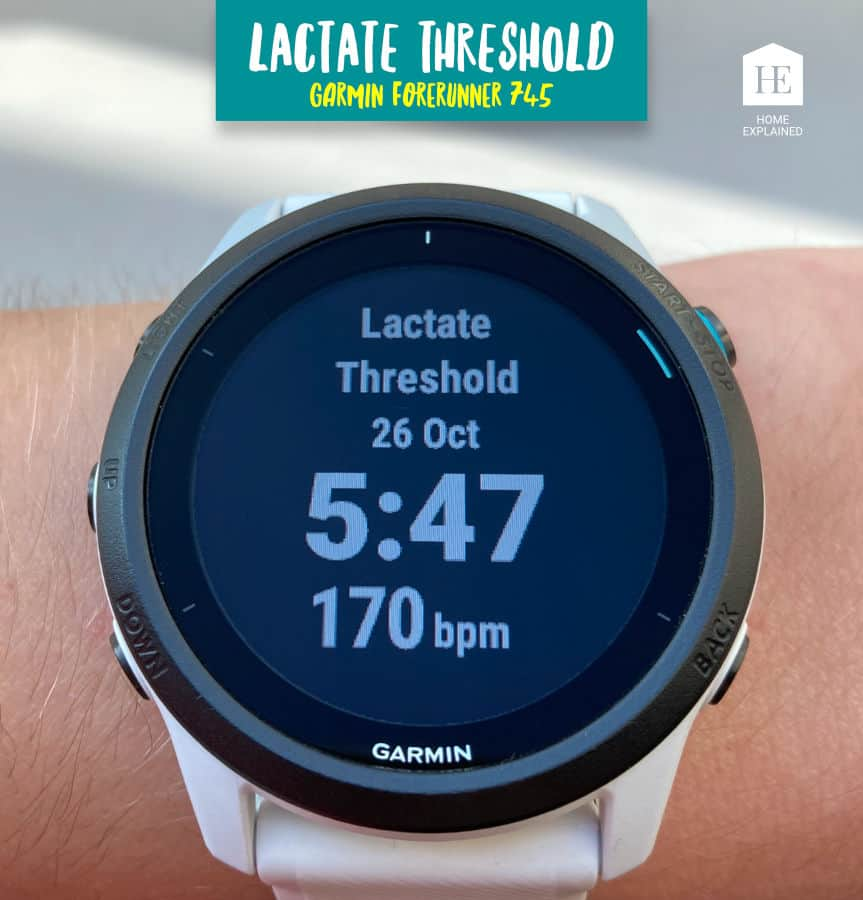 Lactate Threshold Screen Garmin Forerunner 745