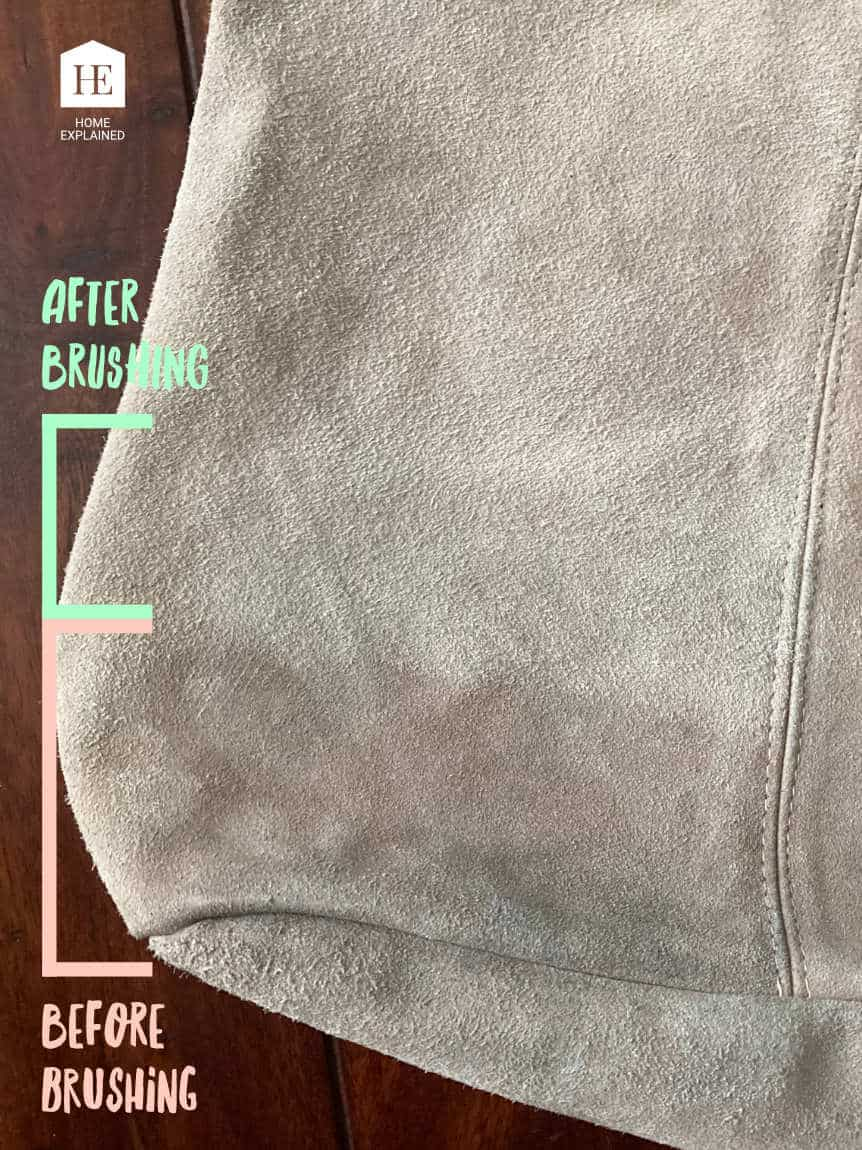 Before and After Brushing Wet Suede Handbag After Spot Cleaning
