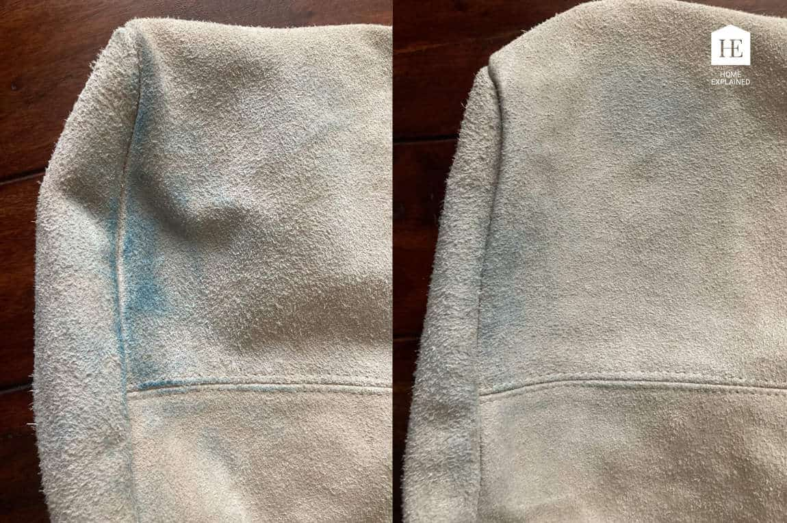 Before and After Cleaning a Denim Transfer off Suede