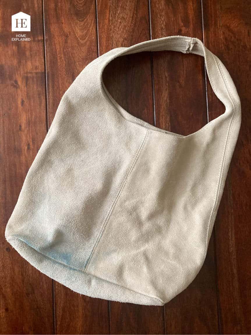 Denim Dye on Suede Handbag